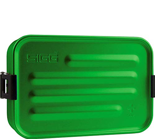 SIGG Metal Box Plus S Green Lunchbox 0.8 L, moderne Brotdose mit praktischem Einsatz, federleichte Brotbox aus Aluminium mit Trennwand