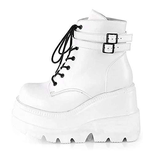koperras Stiefel Damen Plateau Keilabsatz Stiefeletten Schnalle Damenmode Bunte Seitliche Reißverschluss-Plattform-Keilabsatz-Aufladungs-Schuhe Plateau Sandaletten Flache Schuhe Partyschuhe