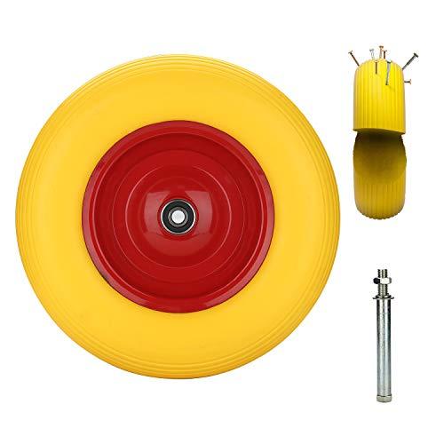 Hengda PU Schubkarrenrad pannensicher Vollgummi 4.80/4.00-8 Ø 390mm 200 kg inkl. Achse Ersatzrad Reifen für Schubkarre
