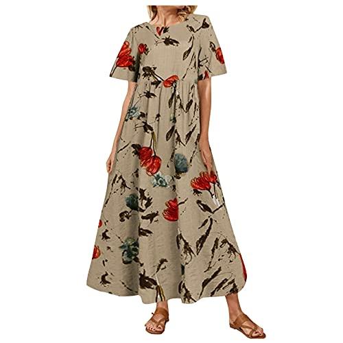 Damen Sommerkleider Leinen Kurzarm Langes Kleid Rundhals Hohe Taillen Blumenmuster Übergrößen Lose Maxikleid Bequem Große Größen Einfach...