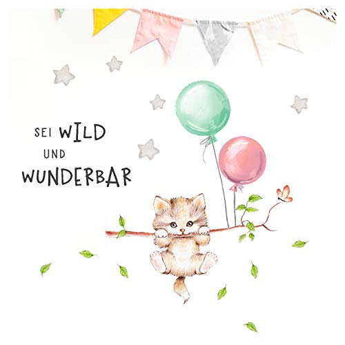 Little Deco Wandbilder Spruch sei wild & Katze I Wandbild 105 x 52 cm (BxH) I Luftballons Wandtattoo Aufkleber Kinderzimmer Mädchen Tiere Deko Babyzimmer Kinder DL315