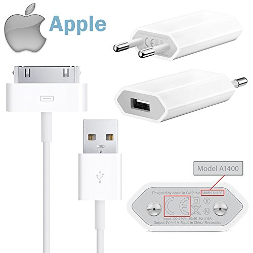 Apple - Adattatore Alimentatore di Rete USB 5W Originale MD813ZM/A A1400 + Cavo Dock USB Originale MA591 per iPhone 4s, 4, 3Gs, 3G, iPod Shuffle Touch (Bulkware).