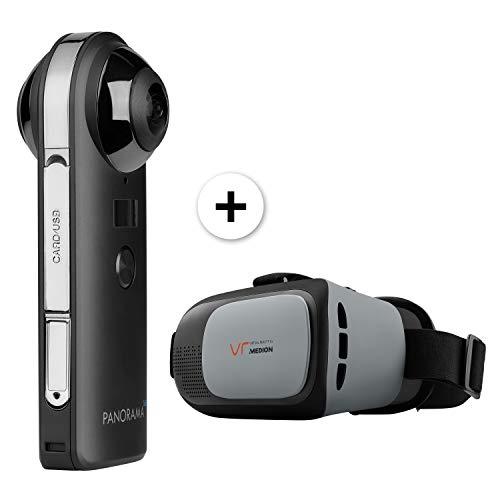 MEDION P47190 360 Grad Kamera inkl. VR-Headset X83070, 20 MP CMOS Sensor, 2 x 190° Weitwinkelobjektiv, WLAN, Bluetooth 4.2, integr. Mikrofon und Li-Ion Akku, schwarz