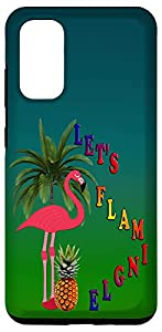Let's Flamingle, Flamingo and Pineapple, Palm Tree Galaxy Case