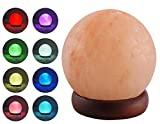 HOMY LED USB Himalayan Salt Lamp with Wood Base, Multi Color Changing in 7 Colors, Small About 4.7 Inches 1.5 lbs, No Installation Required Great Decor for Home Office Hotel