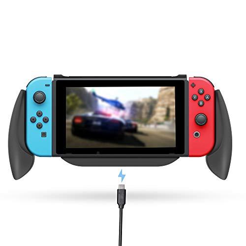 Lammcou Switch Halter für Nintendo Switch Controller Griff Hülle Ständer Grippro Grip Case Handgriff Halter Ladegriff mit Spiele Aufbewahrungsbox für Switch Spiele Splatoon FIFA Yoshi's - Schwarz