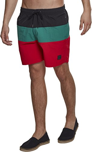 Urban Classics Color Block Swimshorts Camiseta de natación, Multicolor (Firered/Black/Green 01318), S para Hombre