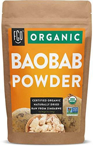Organic Baobab Powder   100% Raw from Zimbabwe- 12oz/340g Resealable Kraft Bag   by FGO
