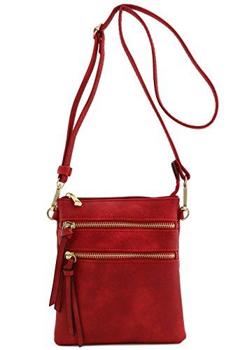 Bolsa bandolera funcional con muchos bolsillos, Marrón, talla única