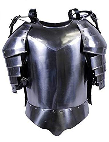 AnNafi Medieval Shoulder Guard Steel Breastplate  Antique Armor Body Guard Knight Warrior  Wearable One Size Fits All Silver