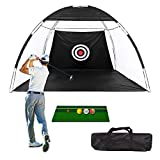 Golf Net Golf Hitting Nets with Target, Foldable Training Aids Practice Nets, Golf Approach Practice Net Golf Hitting Cage Grassland Practice Tent, Backyard Driving Swing Chipping for Indoor Outdoor