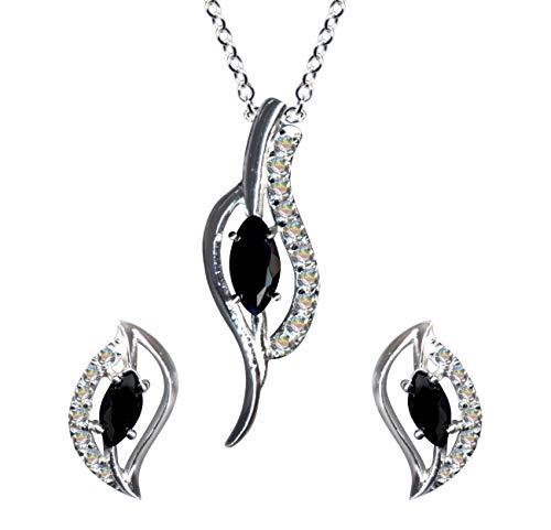 Juego de joyas de estilo modernista en negro y blanco, plata de ley 925, pendientes + cadena + colgante, collar de cadena de plata, colgante de estilo juvenil, pendientes con circonitas y cristales