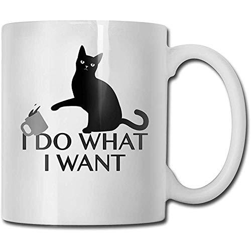 Gato negro Café Taza de cerámica Taza Cool Tazas de café Taza de viaje de cerámica Taza de té 330ml (Blanco)