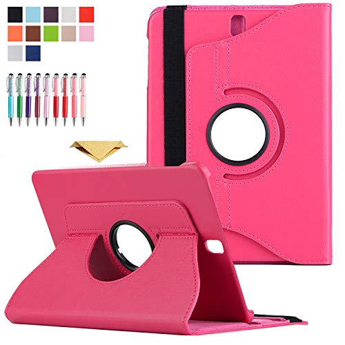 BCK Galaxy Tab E 9.6' SM-T560 Case, Slim PU Leather 360 Degree Rotating Swivel Leather Stand Cover Case with Auto Sleep/Wake Feature for Samsung Galaxy Tab E 9.6 T560 T567 T560NU T560NZ, Rose