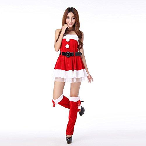 costumi di Natale Christmas Dress senza maniche donne appesi costumi collo pannello esterno dei ganci di travestimento con il cappotto gambe corte Gonna cintura decorata x 2 One Size