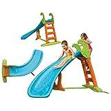 FEBER Famosa 800008359 - Bogenrutsche mit Wasseranschluss für Kinder von 3 bis 10 Jahren, blau