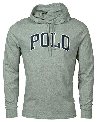 Polo RL Men's Lightweight Pullover Varsity Logo Hoodie (Large, Grey Heather)