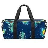 PLOKIJ Bolsa de deporte pequeña de 45,72 cm para hombres y mujeres, bolsa de viaje con bolsillo mojado, fondo azul marino, patrón de plumas de pavo real