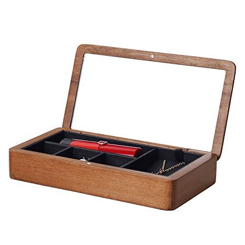 Caja de almacenamiento de joyas de madera maciza, caja de almacenamiento de la caja de almacenamiento de una sola capa de Cloamshell caja de almacenamiento de la caja de almacenamiento de la caja del