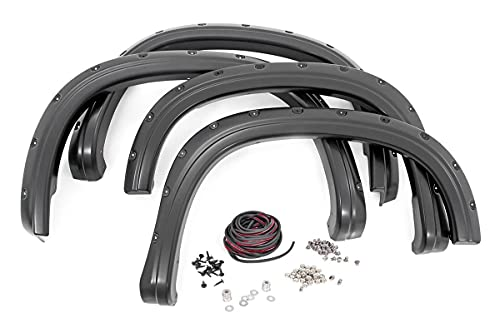 Rough Country Pocket Fender Flares (fits) 2019-2021 Chevy Silverado 1500 | Flat Black | Bolt-On Style | F-C11911