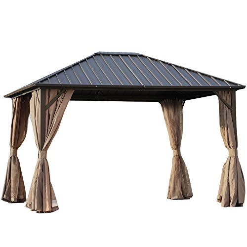Outsunny 10' x 12' Hardtop Gazebo with Netting Curtains and Sidewalls, Steel Top and Aluminum Frame, Brown