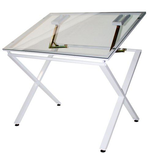 Martin X-Factor Drawing and Hobby Table with Large 30 by 42-Inch Glass Top, White