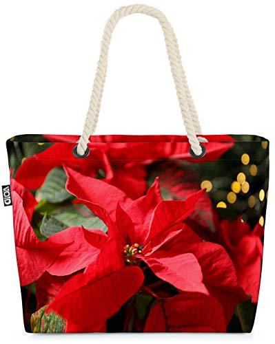 VOID Blumen Weihnachtsstern Pflanzen Strandtasche Shopper 58x38x16cm 23L XXL Einkaufstasche Tasche Reisetasche Beach Bag