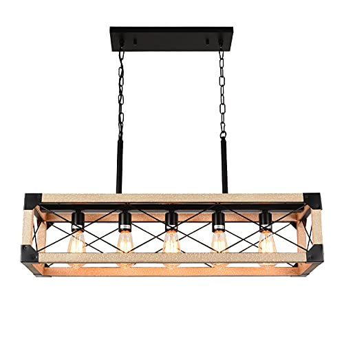 Airposta Kitchen Island Lighting, 5-Light Farmhouse Linear Chandeliers, Rustic Dining Room Light Fixture, Rectangle Hanging Linear Pendant Lights, Wood Chandeliers for Kitchen, Pool Table