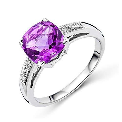 Miore - Anello di fidanzamento da donna in oro bianco con ametista, 9 carati (375), con diamanti 0,06 ct e oro bianco a 9 carati, 52 (16.6), cod. M9129R2