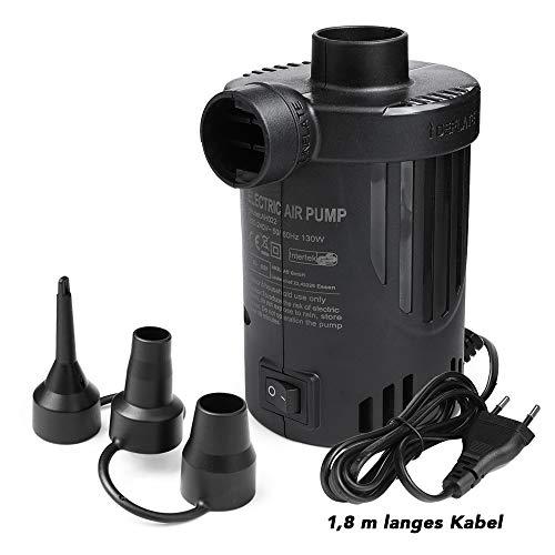 Deeplee Elektrische Luftpumpe Pumpe Luftmatratze Luftpumpe Elektropumpe, 2 in 1 Inflate Deflate Elektrische Pump mit 3 Luftdüse für aufblasbare Matratze,Kissen,Bett,Boot,Schwimmring,Aufblasbarer Pool