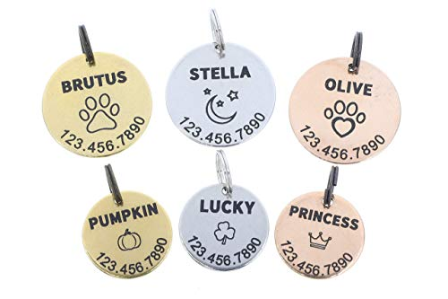 Personalized Pet Tag - Dog Cat ID - Engraved Handmade - 20mm 25mm Disc – New Puppy Kitten Identification Lost - Change Name Number - DGR-20mm