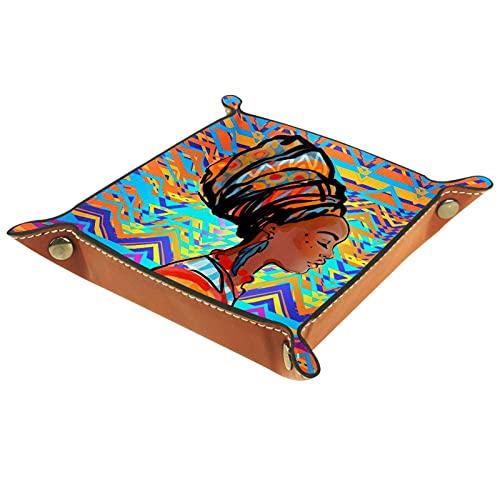 Caja de almacenamiento multiusos con bandeja valet de cuero 16x16CM Organizador de bandejas Se utiliza para almacenar pequeños accesorios.Mujer africana, llevando, aretes