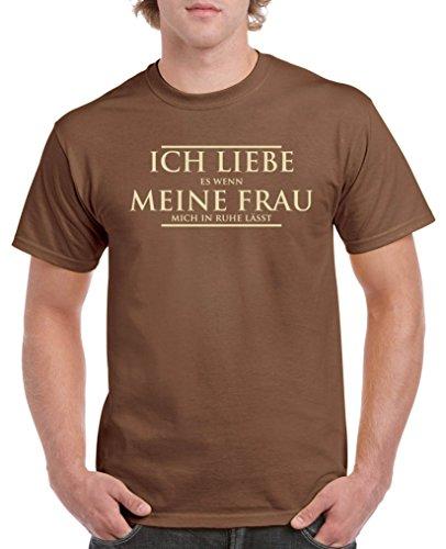 Comedy Shirts - Ich Liebe es wenn Meine Frau Mich in Ruhe lässt - Herren T-Shirt - Braun/Beige Gr. M
