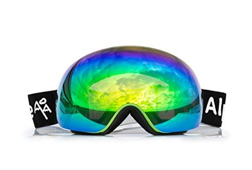 Alpzone Skibrille Snowboardbrille Goggle voll verspiegelt Antifog mit Wechselglas Etui (Grün)