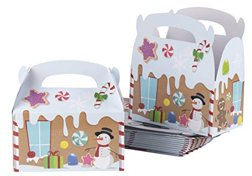 Christmas Party Favor Paper Boxes, Festive Holiday Gingerbread Goodie Boxes (6.2 x 3.3 x 3.5 In, 24 Pack)