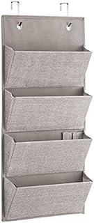 InterDesign Aldo Wall Mount/Over Door Fabric Closet Storage Organizer for Clutch Purses, Handbags, Scarves - 4 Pockets, Linen