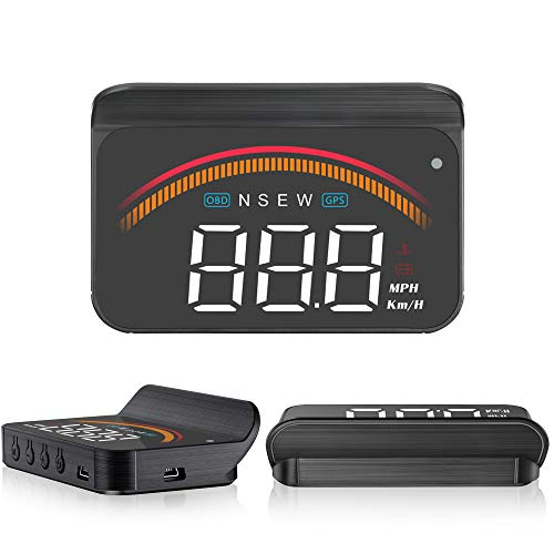 "Car Head Up Display,ACECAR 3.5"" Upgraded Car Universal Dual Mode HUD OBD II/GPS Interface Speedometer Compass Vehicle Speed Engine RPM OverSpeed Warning Mileage Measurement Compatible for All Vehicles"
