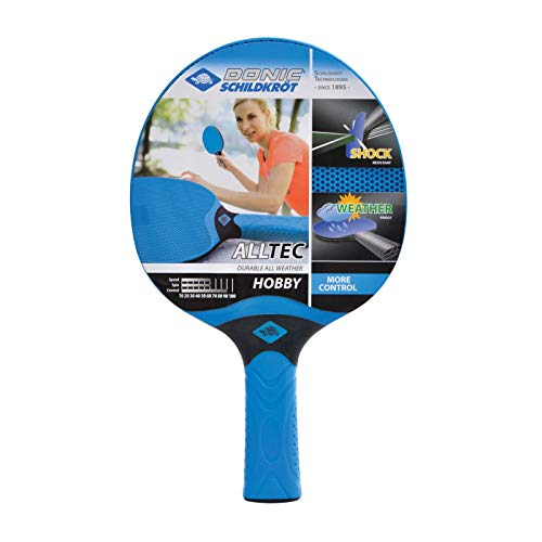Donic-Schildkröt Raqueta de Tenis de Mesa para Exterior Alltec Hobby, de Plástico, Resistente a la Intemperie, Lavable, 733014, Azul/Negro, Talla única