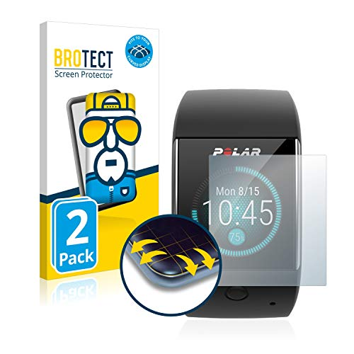 BROTECT Full-Cover Schutzfolie kompatibel mit Polar M600 (2 Stück) - Full-Screen Displayschutz-Folie, 3D Curved, Kristall-Klar