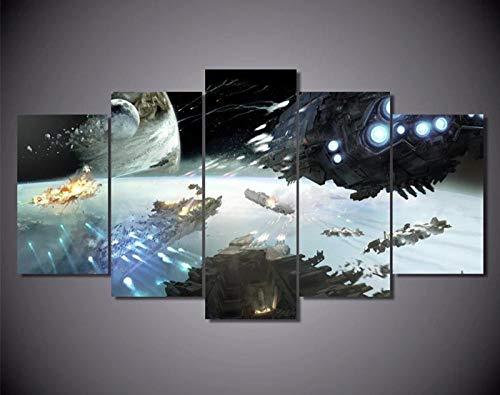 KOPASD HD 5 Piezas Arte Pintura Guerra Orbital DE Star Wars Fotos Prints en Lienzo la Imagen Decor Aceite para decoración de hogar Moderno(Sin tamaño de Marco 200x100cm)