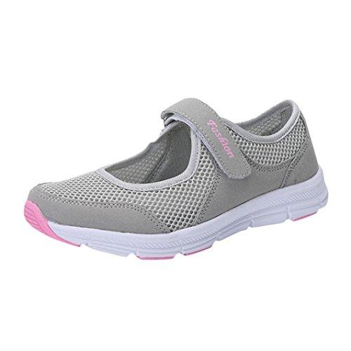 Ansenesna Sandalen Damen Sommer Klettverschluss Flach Sport Sommerschuhe Offen Stoff Atmungsaktiv Schuhe (41, Grau)