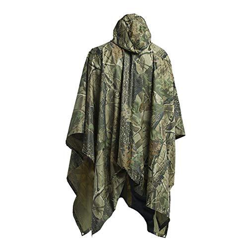 Croch Regenponcho für Herren und Damen - Multifunktions Regenmantel mit Kapuze für Reise, Camping, Wandern, Angeln und Fahrradfahren (Camouflage Größe)