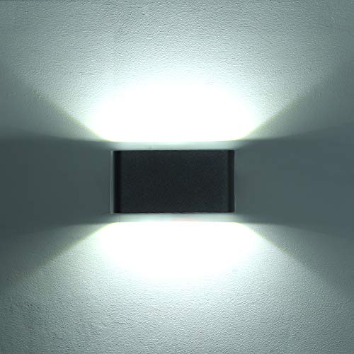 HLFVLITE Aplique De Pared Exterior 6W Up Down Luz Exterior Luz De Puerta Delantera De Aluminio Lámpara De Pared Negra LED, IP54 Impermeable, Blanco frío 6000K, 600LM
