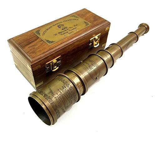 Vintage Messing Teleskop Antik 50,8 cm Hand ausziehbar Naval viktorianischen Piraten Teleskop mit schöner polierter Hartholzbox