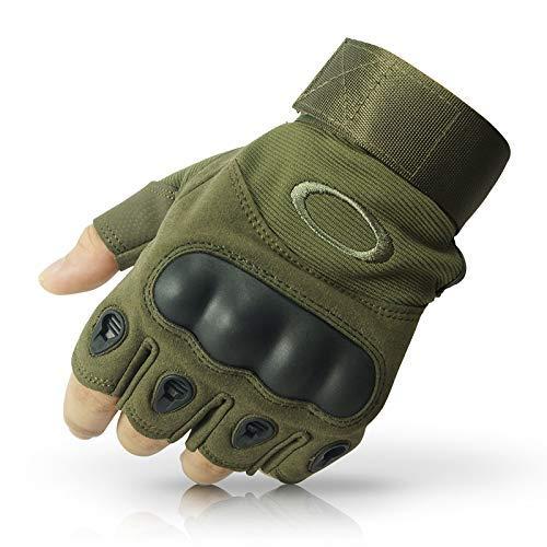 GOCART WITH G LOGO Tactical Gloves Military Hiking Mountain Motorcycle Biking Camping Gloves Fingerless Half Finger Men Women Work Outdoor Gloves(XL,Green)
