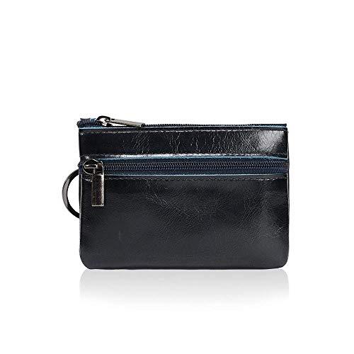 Fliyeong Leder Mini-Multifunktions-Geldbörse Kleine Kartentasche Retro Europa und Amerika Reißverschluss Schlüsselmünze Kurze Handtasche mit Ring Kostengünstig und langlebig