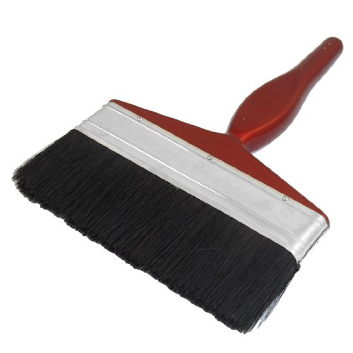uxcell 6' Wide Burgundy Wooden Handle Black Flat Bristle Wall Paint Painting Brush