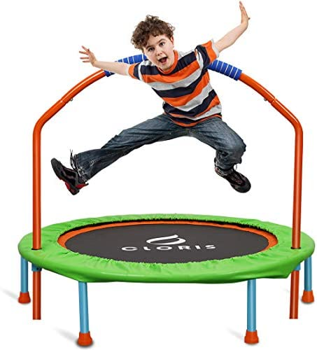 CLORIS Mini Trampoline for Kids Toddler Trampoline with Adjustable Foam Handle 38 Inch Foldable product image