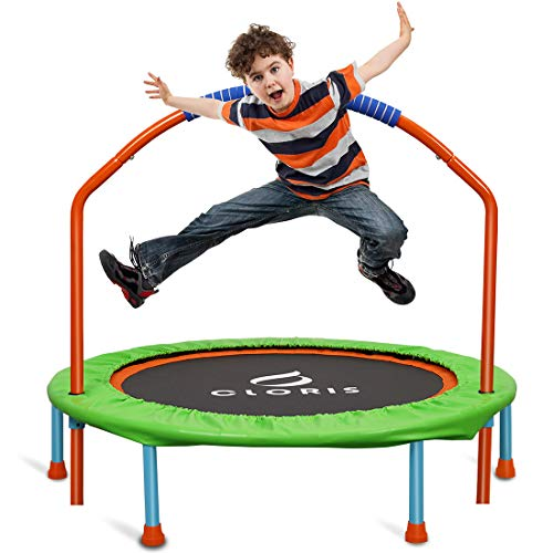 CLORIS Mini Trampoline for Kids,38inch Portable Rebounder Trampoline for Toddler with Adjustable Foam Handle,Foldable Fitness Body Exercise for Indoor and Outdoor Play Max Load 220lbs