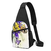 Butterfly Flower 蝶の花 ショルダーバッグ チェストバッグ 多機能 軽量 メッセンジャーバッグ防水旅行ウエストバッグ 携帯ポーチ カードが 小物入れ 収納 ユニセックス クロスボデ